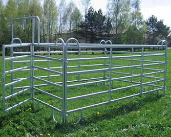 Three galvanized panels and one gate make the horse box