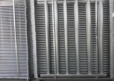 Two pallets galvanized fence panel packed with steel plate