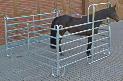Three galvanized panels and 1 gate make temporary box for horse