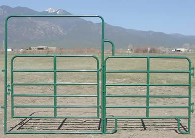 Green powder coated gate with panel