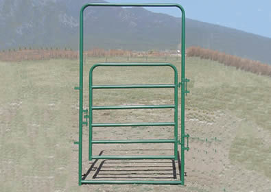 Green powder coated gate without panel