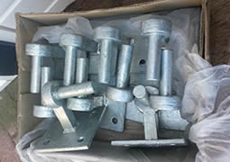 10 galvanized horse fence gate bolts in paper box.