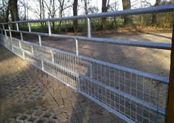 Galvanized horse fence gate used for forest