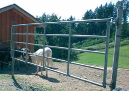 Horse fence gate installed with metal post keeps four horses in ranch