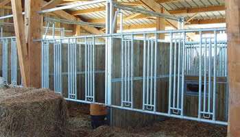 Modular equine feed fence with 4 central rails used indoor