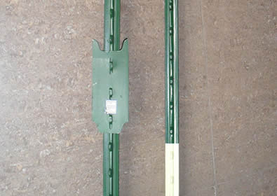 Two green PVC coated t-posts and detail